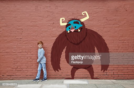 Boy with cartoon monster