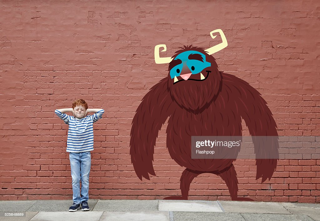 Boy with cartoon monster