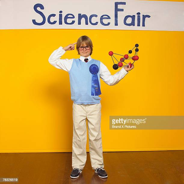 Boy with chemistry model