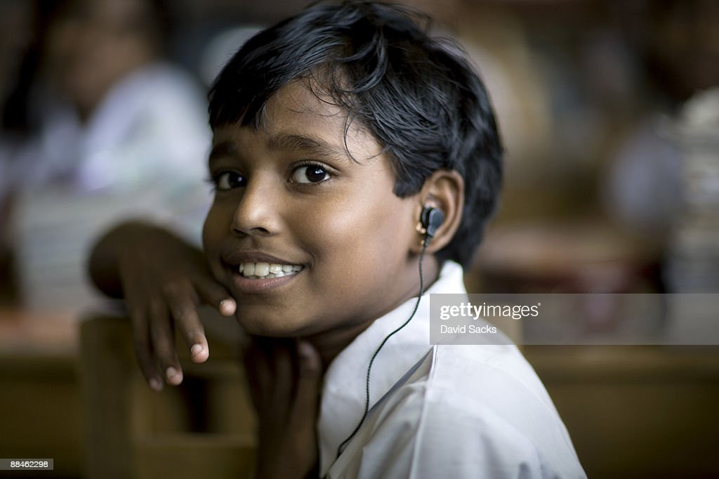 Boy with earpiece