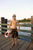 Boy with goggles and snorkel