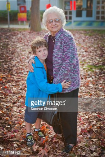 boy with grandma after school on a Fall day : Photo