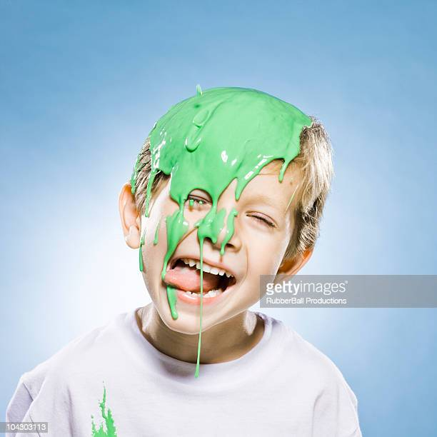 boy with green goo on his head