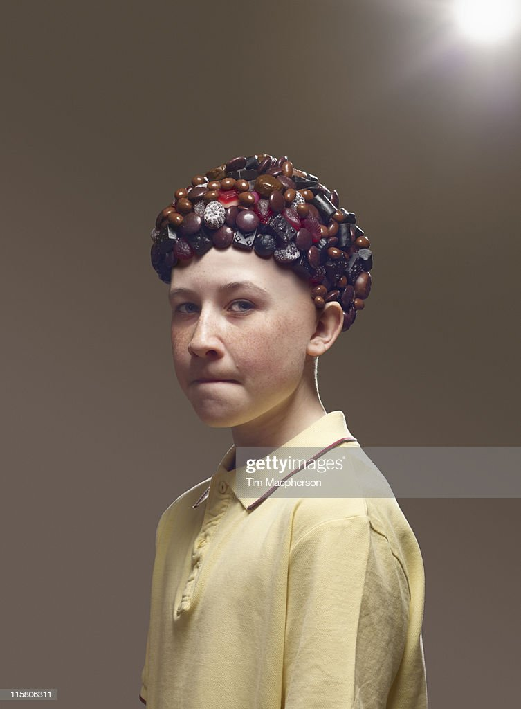 Boy with hair made from sweets