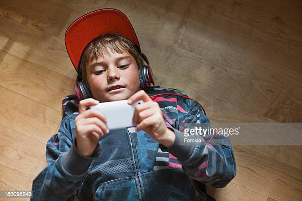 Boy with headset & MP3 player