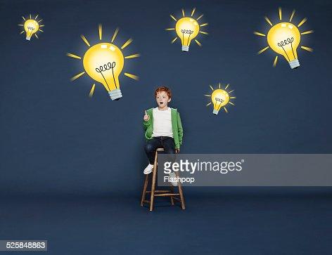 Boy with lightbulbs