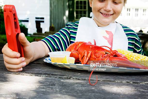 Boy with lobster bib about to eat lobster