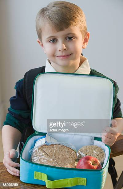 Boy with lunch box