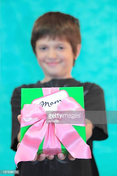 Boy with Mother's Day or Birthday Present