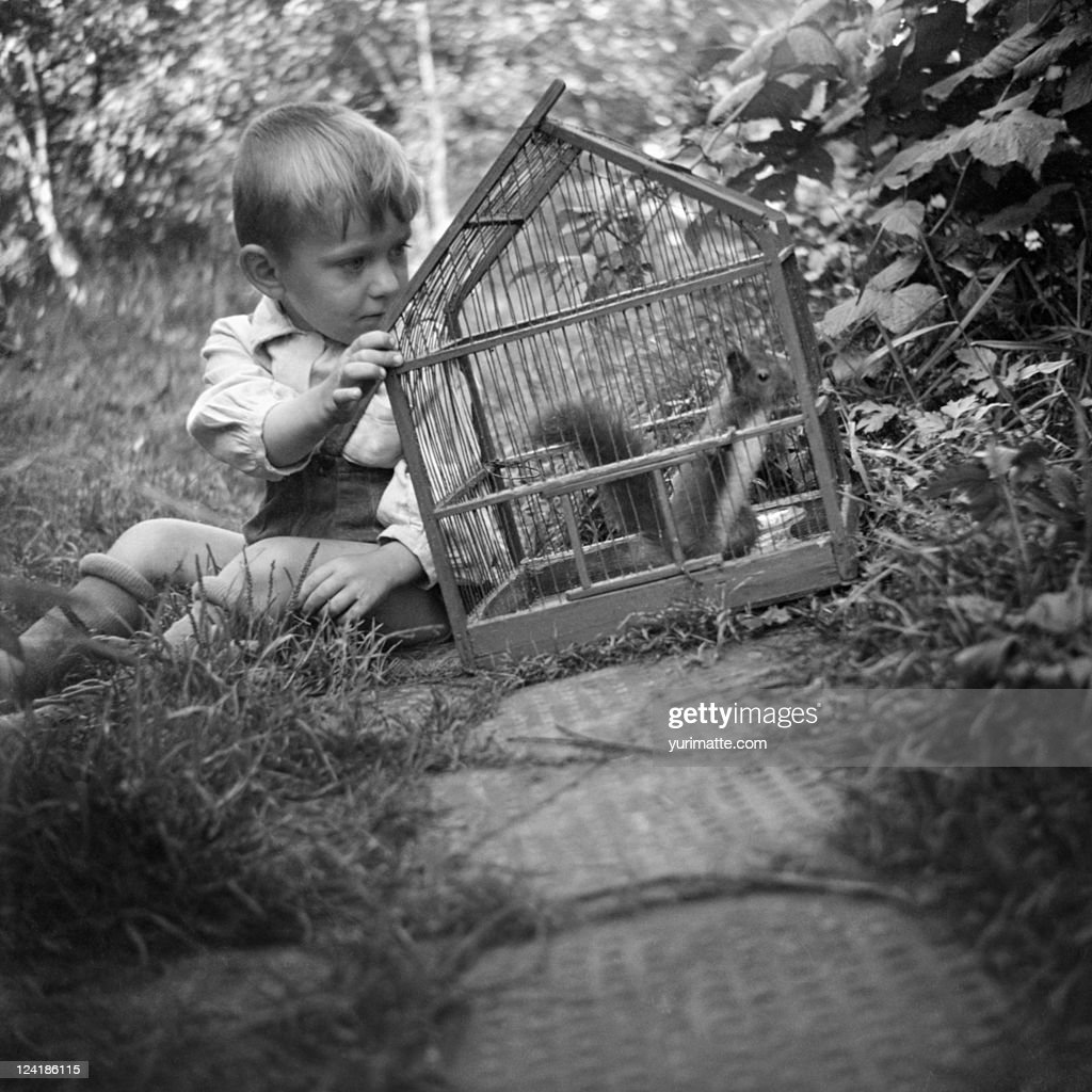 Boy with squirrel : Stock Photo