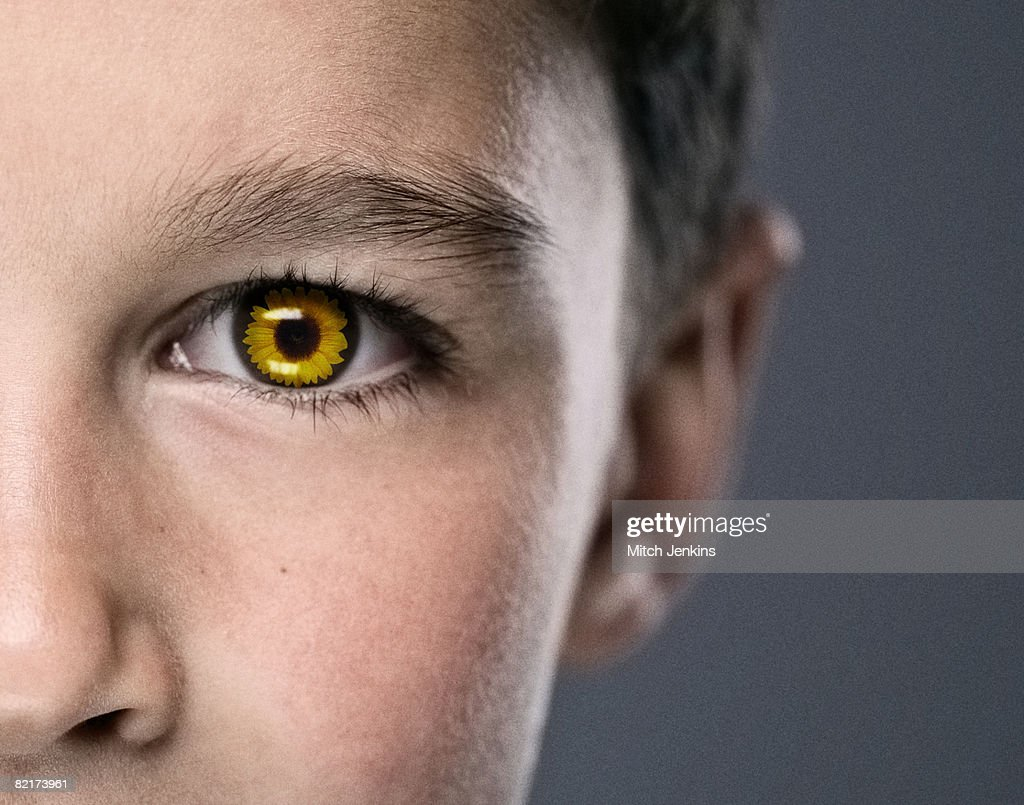 Boy with Sunflower Eye : Stock Photo