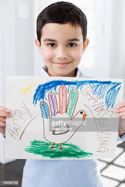 Boy with thanksgiving picture