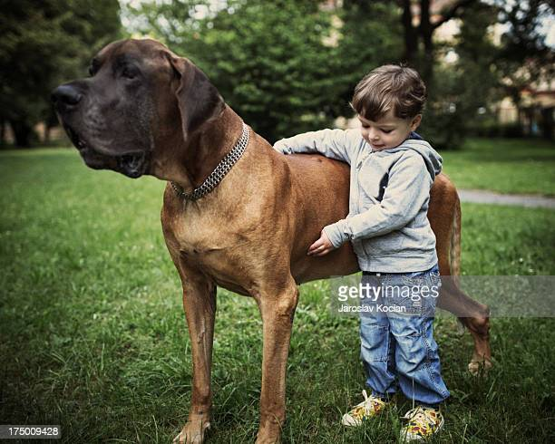 Boy with the big dog