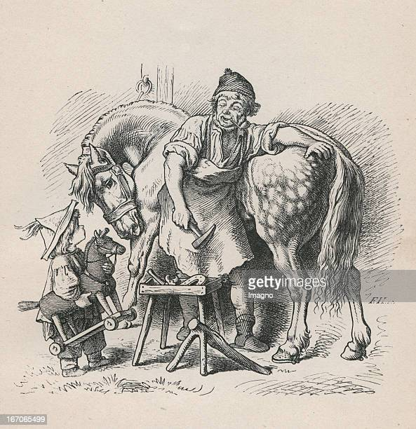 Boy with toyhorse is watching a blacksmith shoing a grey horse Steel engraving from Oscar Pletsch Jahr ein Jahr aus im Elternhaus 1861 Dresden Verlag...