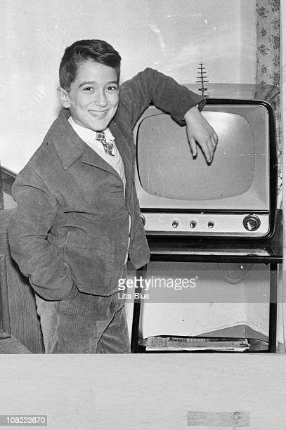 Boy with Vintage TV,1950,Black And White.