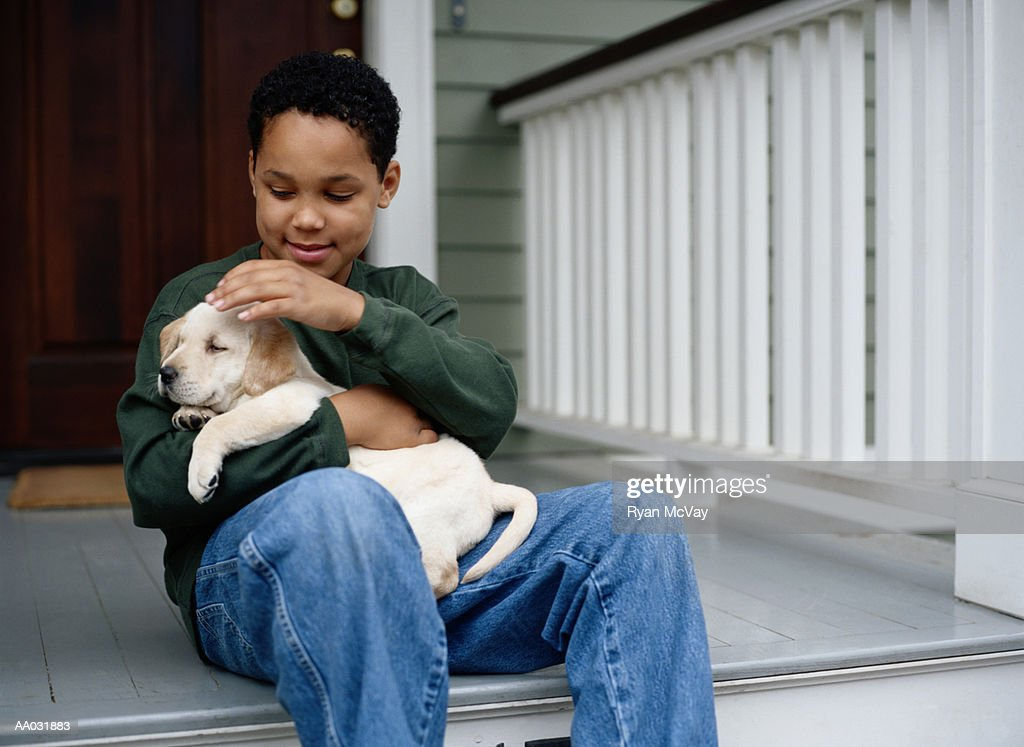 Boy with Yellow Lab Puppy : Stock Photo