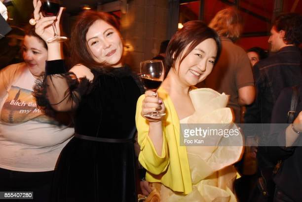 Boya Zhang and Chinese fashion designer Jordy Fu attend the 'Apero Gouter' Cocktail Hosted by Le Grand Seigneur Magazine at Bistrot Marguerite on...