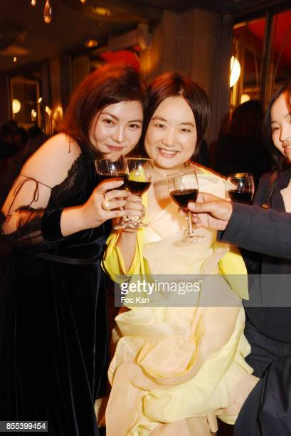 Boya Zhang chinese fashion designer Jordy Fu and Lowdy MiaoÊattend the 'Apero Gouter' Cocktail Hosted by Le Grand Seigneur Magazine at Bistrot...