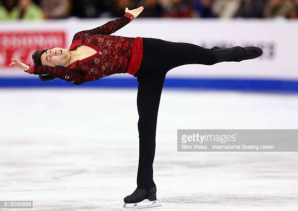 Boyang Jin of China competes during Day 3 of the ISU World Figure Skating Championships 2016 at TD Garden on March 30 2016 in Boston Massachusetts