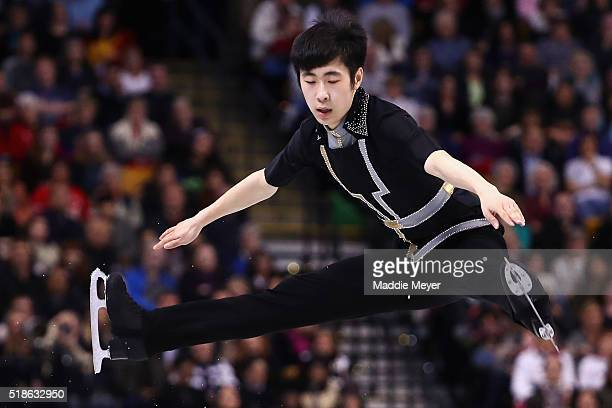 Boyang Jin of China skates in the Men's Free Skate program during Day 5 of the ISU World Figure Skating Championships 2016 at TD Garden on April 1...