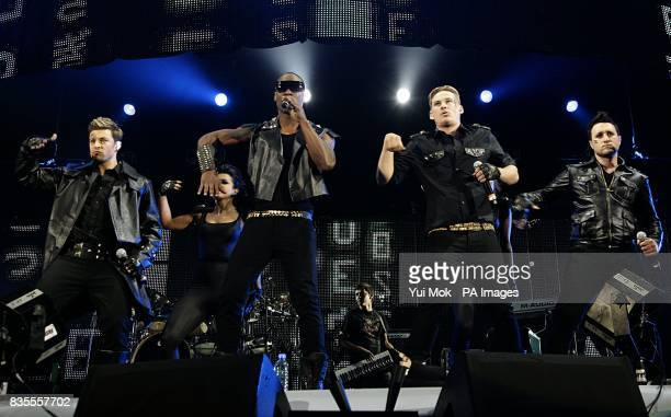 Boyband Blue Duncan James Simon Webbe Lee Ryan and Anthony Costa performing on stage performing on stage during Capital 958 Summertime Ball with...