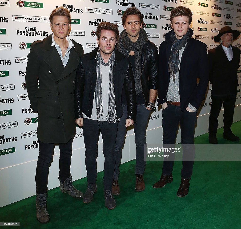 Boyband Lawson (L-R) Ryan Fletcher, <a gi-track='captionPersonalityLinkClicked' href=/galleries/search?phrase=Adam+Pitts&family=editorial&specificpeople=7078662 ng-click='$event.stopPropagation()'>Adam Pitts</a>, Andy Brown and <a gi-track='captionPersonalityLinkClicked' href=/galleries/search?phrase=Joel+Peat&family=editorial&specificpeople=7078660 ng-click='$event.stopPropagation()'>Joel Peat</a> arrive at the Jameson Cult Film Club gala premiere of Seven Psychopathsat Oval Space on November 27, 2012 in London, England. Jameson Cult Film Club hosts immersive screenings of cult classics and new release 'Future Cult' films across the UK