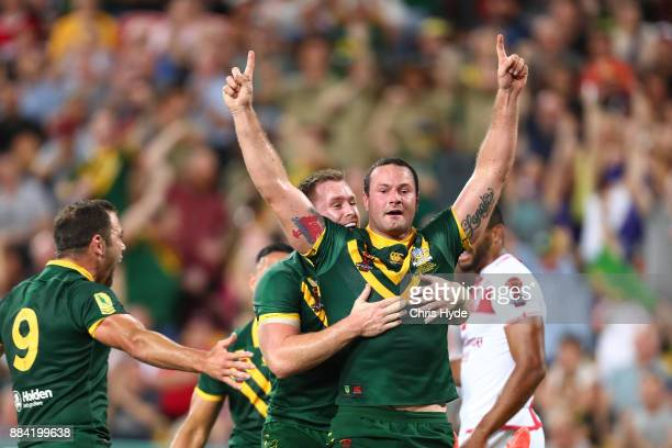 Boyd Cordner of Australia celebrates a try during the 2017 Rugby League World Cup Final between the Australian Kangaroos and England at Suncorp...