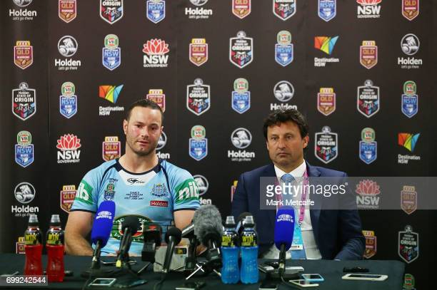 Boyd Cordner of the Blues and Blues coach Laurie Daley speak at a press conference after game two of the State Of Origin series between the New South...