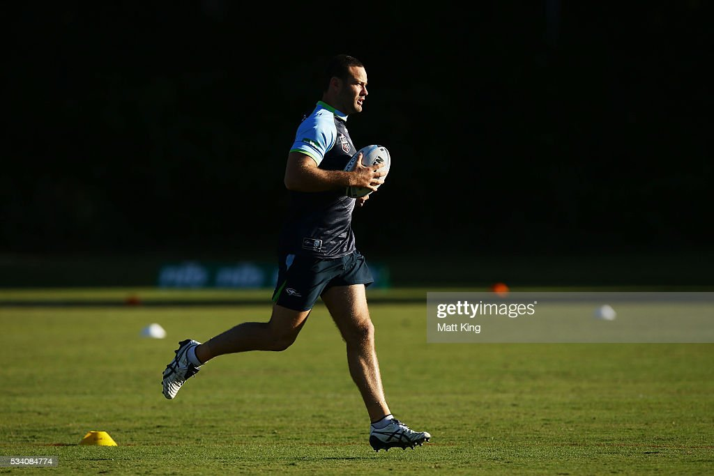 <a gi-track='captionPersonalityLinkClicked' href=/galleries/search?phrase=Boyd+Cordner&family=editorial&specificpeople=7857347 ng-click='$event.stopPropagation()'>Boyd Cordner</a> of the Blues runs with the ball during a New South Wales Blues State of Origin training session on May 25, 2016 in Coffs Harbour, Australia.