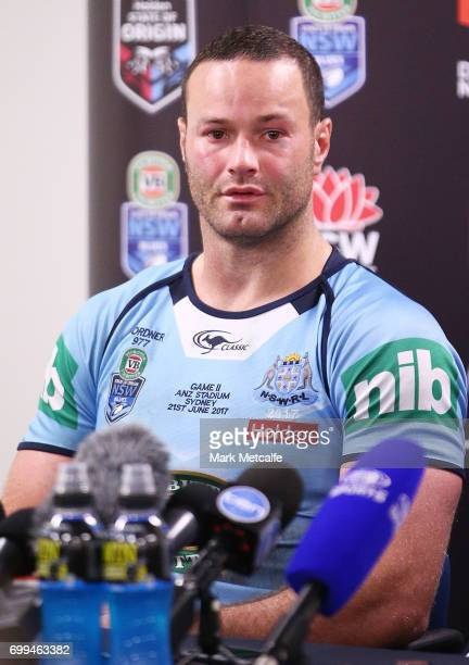 Boyd Cordner of the Blues speaks at a press conference after game two of the State Of Origin series between the New South Wales Blues and the...