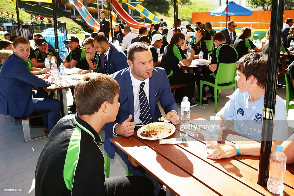 Boyd Cordner of the Blues talks and eats lunch with young rugby league players during a New South Wales Blues NRL State of Origin Welcome Session at The Big Banana on May 24, 2016 in Coffs Harbour, Australia.