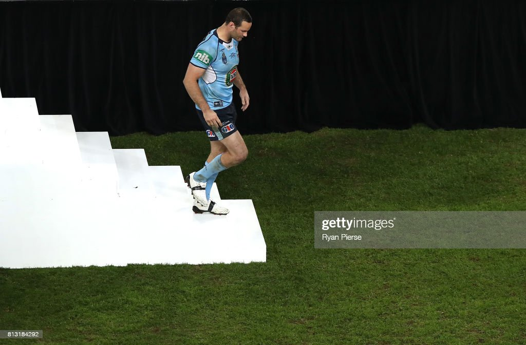 Boyd Cordner of the Blues walks from the stage after game three of the State Of Origin series between the Queensland Maroons and the New South Wales Blues at Suncorp Stadium on July 12, 2017 in Brisbane, Australia.