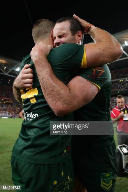 Boyd Cordner of the Kangaroos and Wade Graham of the Kangaroos celebrate winning the 2017 Rugby League World Cup Final between the Australian...