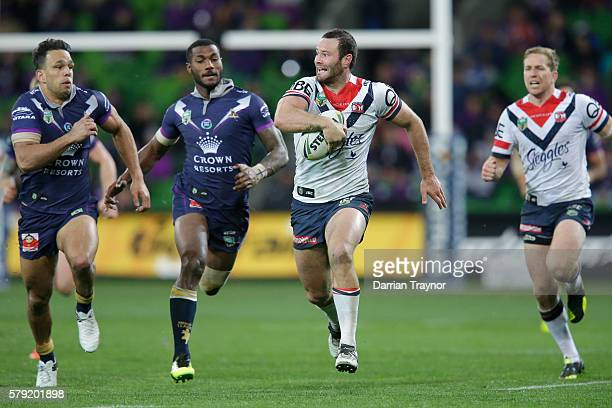 Boyd Cordner of the Roosters breaks the line during the round 20 NRL match between the Melbourne Storm and the Sydney Roosters at AAMI Park on July...