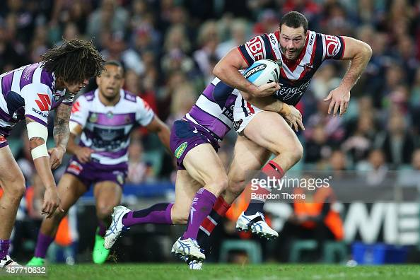 Boyd Cordner of the Roosters breaks the Storm defence during the NRL qualifying final match between the Sydney Roosters and the Melbourne Storm at...