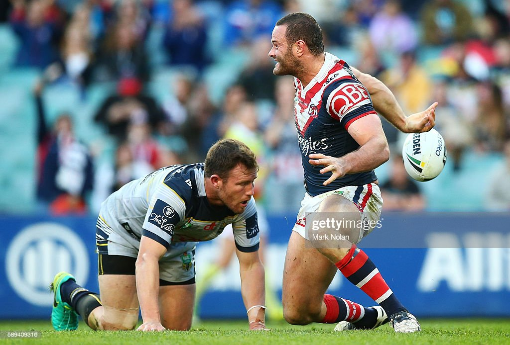 Boyd Cordner of the Roosters celebrates scoring a try during the round 23 NRL match between the Sydney Roosters and the North Queensland Cowboys at Allianz Stadium on August 14, 2016 in Sydney, Australia.