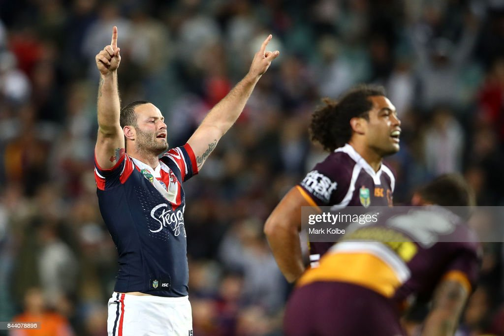 Boyd Cordner of the Roosters celebrates victory during the NRL Qualifying Final match between the Sydney Roosters and the Brisbane Broncos at Allianz Stadium on September 8, 2017 in Sydney, Australia.