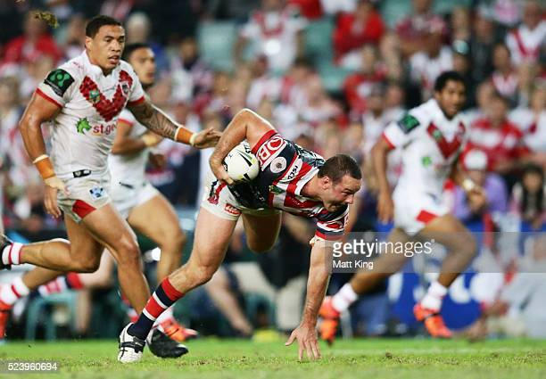 Boyd Cordner of the Roosters makes a break during the round eight NRL match between the St George Illawarra Dragons and the Sydney Roosters at...