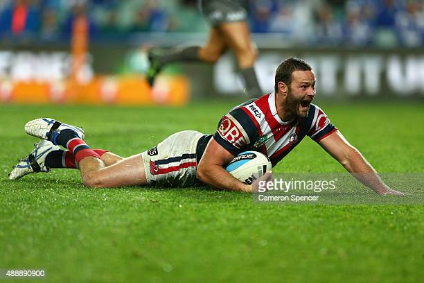 Boyd Cordner of the Roosters scores a try during the First NRL Semi Final match between the Sydney Roosters and the Canterbury Bulldogs at Allianz...