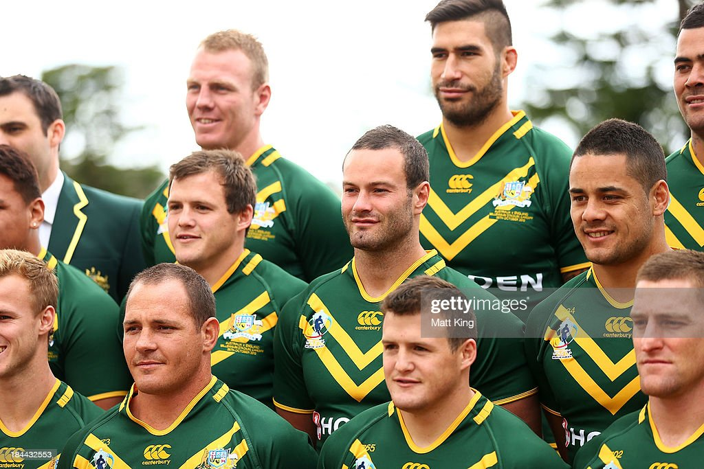 <a gi-track='captionPersonalityLinkClicked' href=/galleries/search?phrase=Boyd+Cordner&family=editorial&specificpeople=7857347 ng-click='$event.stopPropagation()'>Boyd Cordner</a> (C) poses during an Australian Kangaroos Rugby League World Cup teamphoto session at Crowne Plaza, Coogee on October 14, 2013 in Sydney, Australia.