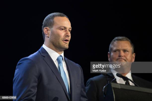 Boyd Cordner speaks on stage after his announcement as the Blues captain during the New South Wales State of Origin team announcement at The Star on...