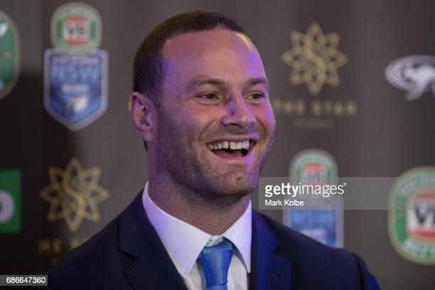 Boyd Cordner speaks to the media after his announcement as the Blues captain during the New South Wales State of Origin team announcement at The Star...
