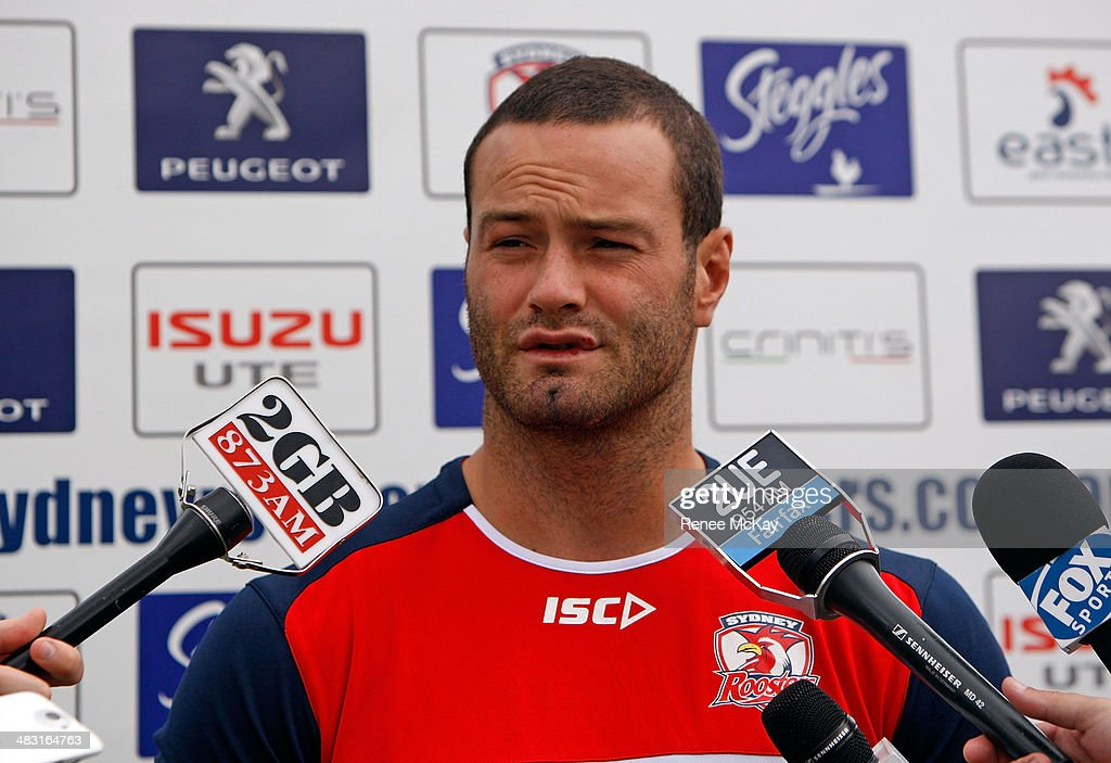 <a gi-track='captionPersonalityLinkClicked' href=/galleries/search?phrase=Boyd+Cordner&family=editorial&specificpeople=7857347 ng-click='$event.stopPropagation()'>Boyd Cordner</a> talks to the media during a Sydney Roosters NRL training session at Kippax Lake on April 7, 2014 in Sydney, Australia.