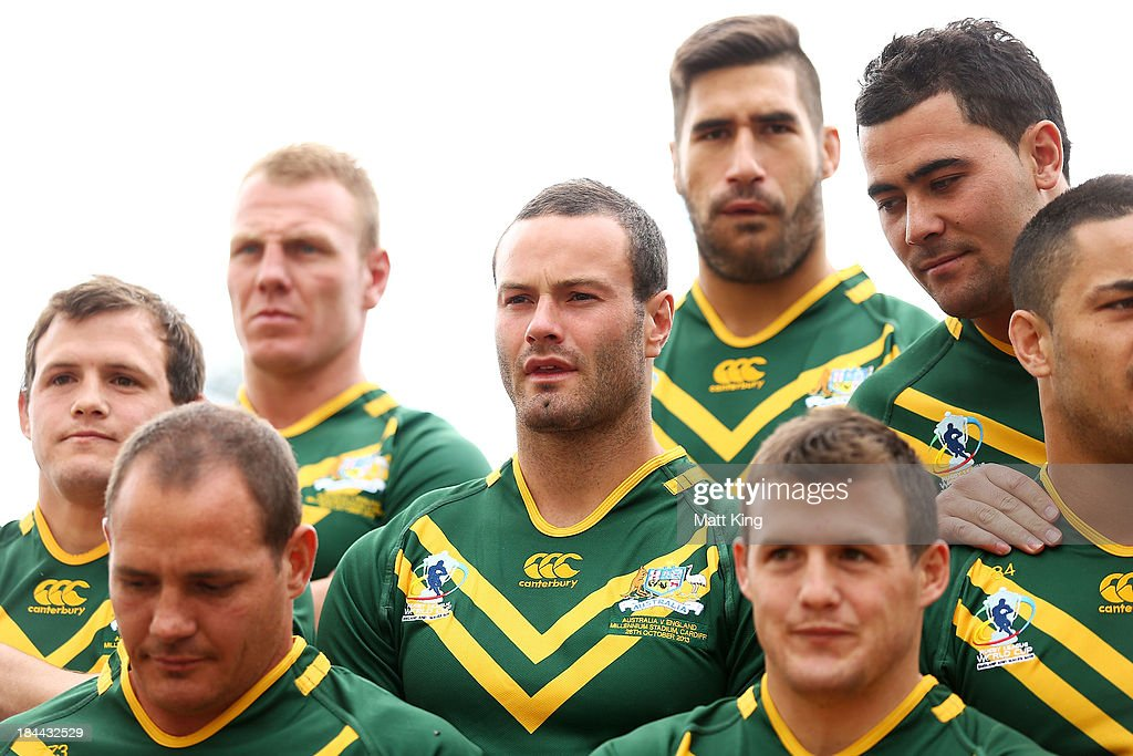 <a gi-track='captionPersonalityLinkClicked' href=/galleries/search?phrase=Boyd+Cordner&family=editorial&specificpeople=7857347 ng-click='$event.stopPropagation()'>Boyd Cordner</a> (C) waits during an Australian Kangaroos Rugby League World Cup teamphoto session at Crowne Plaza, Coogee on October 14, 2013 in Sydney, Australia.