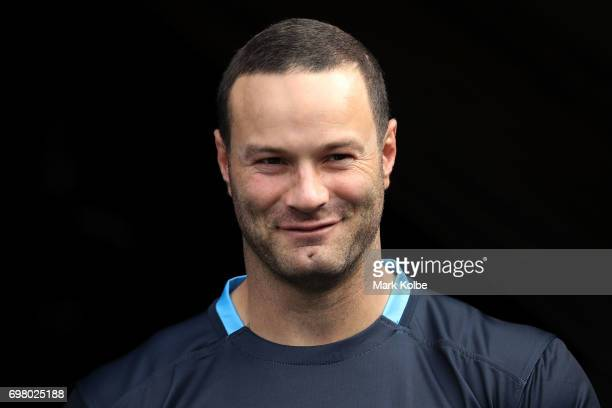 Boyd Cordner walks out onto the field during a New South Wales Blues State of Origin captain's run at ANZ Stadium on June 20 2017 in Sydney Australia