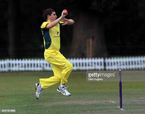 Boyd Duffield of Australia bowls during the T20 INAS TriSeries against South Africa at Toft Cricket Club on July 18 2017 in Knutsford England