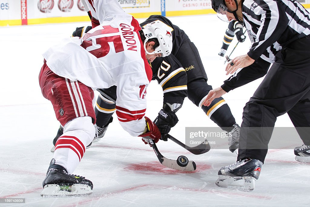 <a gi-track='captionPersonalityLinkClicked' href=/galleries/search?phrase=Boyd+Gordon&family=editorial&specificpeople=209395 ng-click='$event.stopPropagation()'>Boyd Gordon</a> #15 of the Phoenix Coyotes takes a face off against <a gi-track='captionPersonalityLinkClicked' href=/galleries/search?phrase=Cody+Eakin&family=editorial&specificpeople=5662792 ng-click='$event.stopPropagation()'>Cody Eakin</a> #20 of the Dallas Stars at the American Airlines Center on January 19, 2013 in Dallas, Texas.