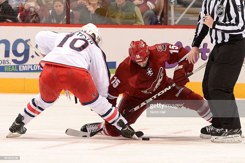 <a gi-track='captionPersonalityLinkClicked' href=/galleries/search?phrase=Boyd+Gordon&family=editorial&specificpeople=209395 ng-click='$event.stopPropagation()'>Boyd Gordon</a> #15 of the Phoenix Coyotes takes a faceoff against <a gi-track='captionPersonalityLinkClicked' href=/galleries/search?phrase=Mark+Letestu&family=editorial&specificpeople=4601071 ng-click='$event.stopPropagation()'>Mark Letestu</a> #10 of the Columbus Blue Jackets during the third period at Jobing.com Arena on February 16, 2013 in Glendale, Arizona.