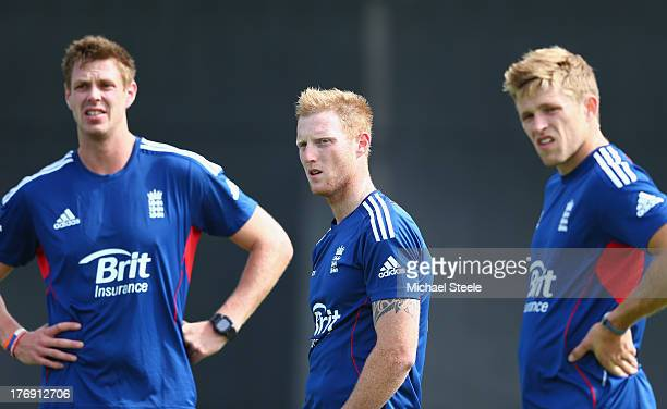 Boyd Rankin Ben Stokes and David Willey look on during the England Lions training session at The County Ground on August 19 2013 in Bristol England