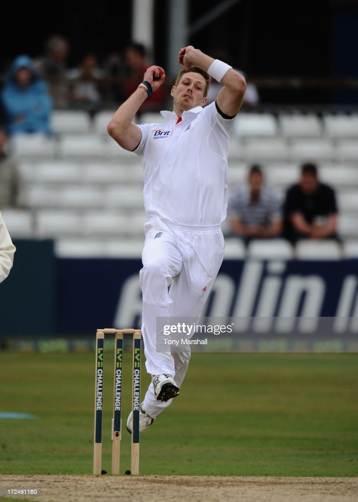 Boyd Rankin of England bowling during the LV= Challenge match between Essex and England at The Ford County Ground on July 2, 2013 in Chelmsford, England.